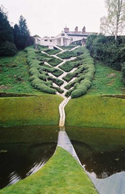 Garden of Cosmic Speculation at Portrack House, Scotland, design by Charles Jencks one of most famous architecture critics