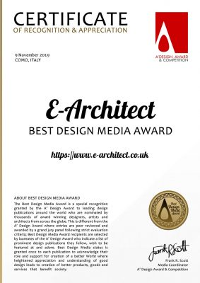 e-architect win Best Design Media Award at the 2019 A'Design Award