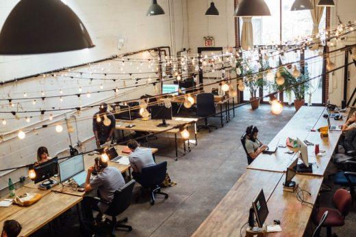 coworking space layout office interior USA