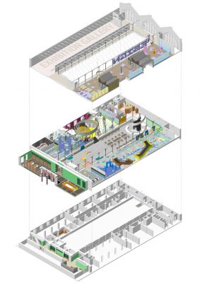 V&A Museum of Childhood Redevelopment axonometric 3D