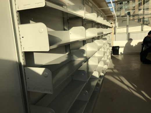 Hunters Point Public Library, Queens, New York empty shelves