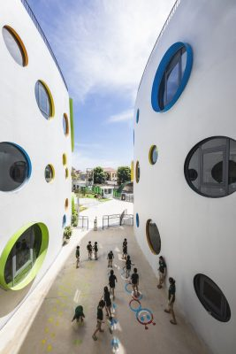 Vinh Kindergarten building in Vietnam circular windows