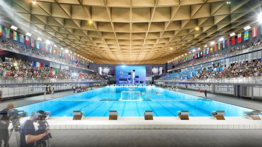 2024 Paris Olympics Aquatic Center building interior design by MAD