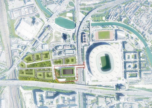 2024 Paris Olympics Aquatic Center masterplan layout by MAD