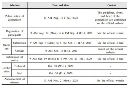 2020 Bcome International Ideas Competition Building schedule