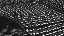 Aerial view of Levittown, Pennsylvania suburban housing USA
