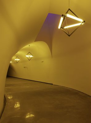 Ólafur Elíasson's Sometimes an underground movement is an illuminated bridge tunnel, 2020, in the Nancy and Rich Kinder Building at the Museum of Fine Arts, Houston
