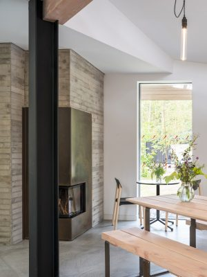 Moxon Architects office wood burner fire