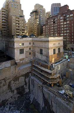Aerial view: J.P. Morgan Library and Museum construction site during demolition