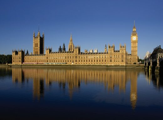 Palace of Westminster building viewed across the River Thames