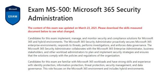 Updated course outline for MS-500 exam