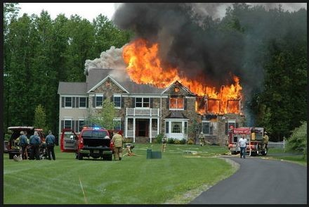 House on fire Safety precautions against home fire