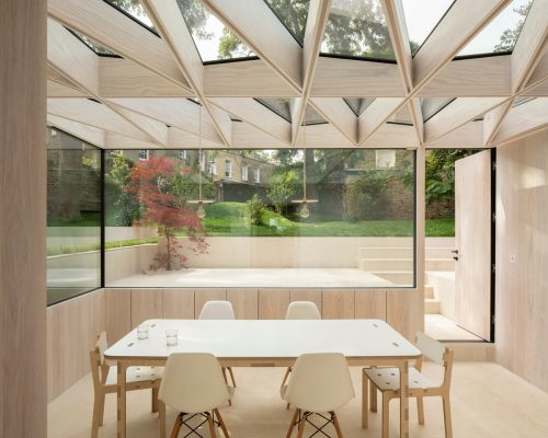 Wooden Roof London house conservatory extension