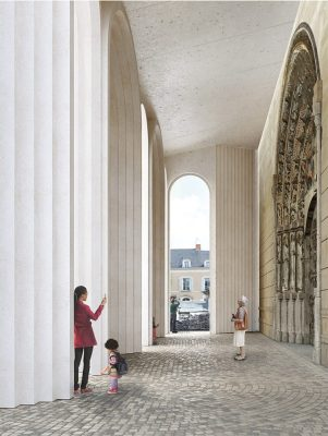 Angers Cathedral Arched Portals design by Kengo Kuma architect